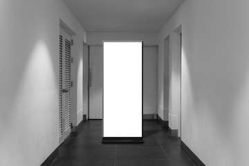 Fotomurales - corridor interior with empty banner on wall. Advertisement concept. Mock up