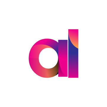 Initial Letter AL Logo Lowercase, magenta and orange, Modern and Simple Logo Design.