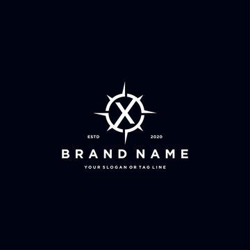 letter X compass logo design vector