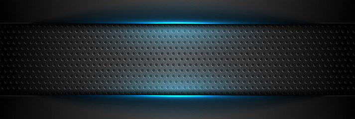 Futuristic perforated technology abstract background with blue neon glowing lines. Vector concept banner design
