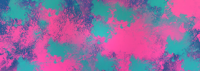 An abstract pink and blue paint splatter grunge background image.