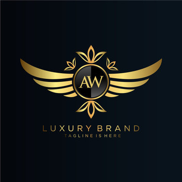 AW Letter Initial with Royal Template.elegant with crown logo vector, Creative Lettering Logo Vector Illustration.