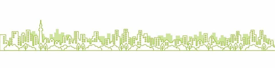 City View Line  A3見開きレイアウトにちょうどいい線画の都市風景の街並み 緑