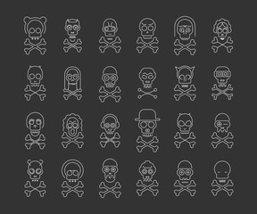 White line art silhouettes isolated on a dark grey background Skull and Crossbones vector icon set. Large bundle of unique design elements, each icon is on a separate layer.