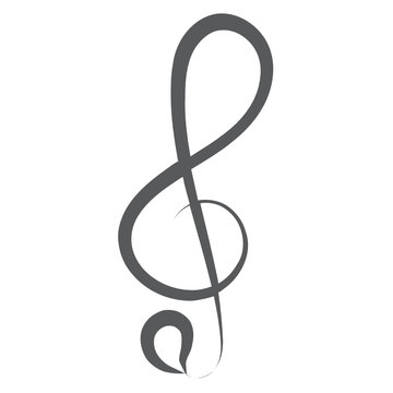 An audio symbol to be placed on music lines, treble clef line icon