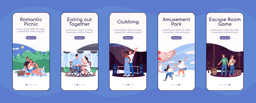 Fun date ideas onboarding mobile app screen flat vector template. Eating together. Theme park. Walkthrough website steps with characters. UX, UI, GUI smartphone cartoon interface, case prints set