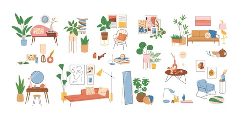 Set of modern interior decor elements vector illustration. Collection of various home furnishing accessories isolated on white. Colorful stylish and comfy furniture with houseplants and wall pictures