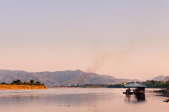 Fishing hut on Mekhong River at Chiang Khong, Thailand