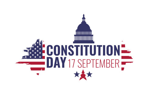 17 september - United States Constitution day. Typography concept  design for greeting card, poster, banner, flyer. USA flag and building on white background. Vector illustration