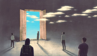 Fototapeta Concept art of freedom dream success and hope concept , ambition idea artwork, surreal painting people with magic sky in a door , conceptual illustration obraz