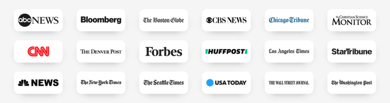 Popular News portals and sites of leading media US buttons set. Flat design buttons with shadow. Vector illustration EPS10