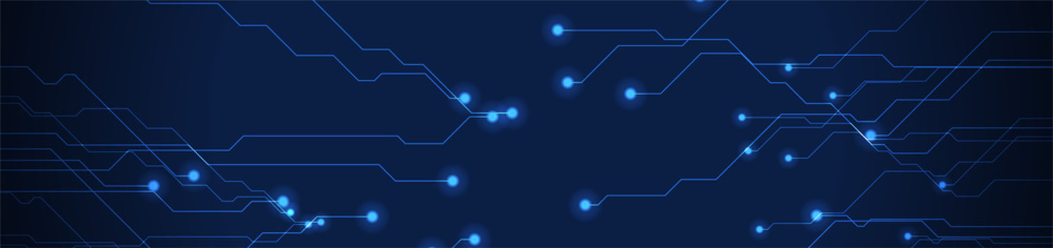 Abstract neon blue tech circuit board lines sci-fi banner design. Futuristic computer chip background. Vector glowing illustration