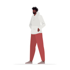 Wall Mural - young man in casual trendy clothes african american male cartoon character standing pose full length vector illustration