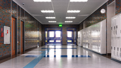 School corridor with exit door. 3d illustration