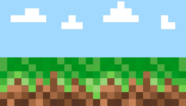 Pixel background. The concept of games background. Vector illustration