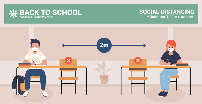 Back to school. Social distancing and coronavirus covid-19 prevention. Keep distance in classroom to protect from COVID-19 coronavirus outbreak spreading concept. Vector Illustration