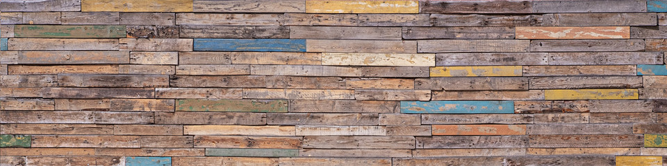 Wooden Background From Many Old Painted Boards In Different Colors. Beautiful Multicolored Rough...