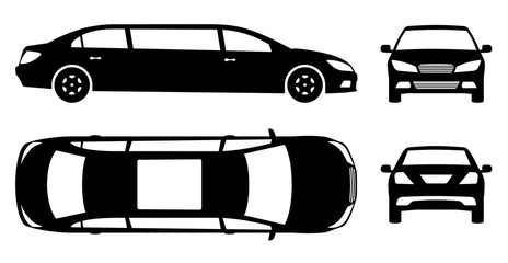 Limousine silhouette on white background. Vehicle black icons set view from side, front, back and top
