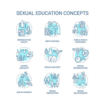 Sexual education concept icons set. Human sexuality and physiology idea thin line RGB color illustrations. Anatomy and reproductive health teaching. Vector isolated outline drawings. Editable stroke
