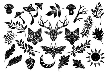 Black silhouettes of animals and plants on a white background. The head of a deer, wolf and fox. Forest set