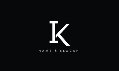 Obraz IK, KI, I, K abstract letters logo monogram - fototapety do salonu