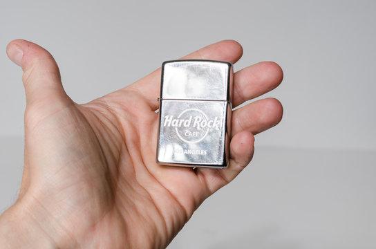 london, uk, 05/05/2020 Classic official Zippo brand usa american hard rock cafe zippo lighter los angeles. collectors lighter americana memorabilia.