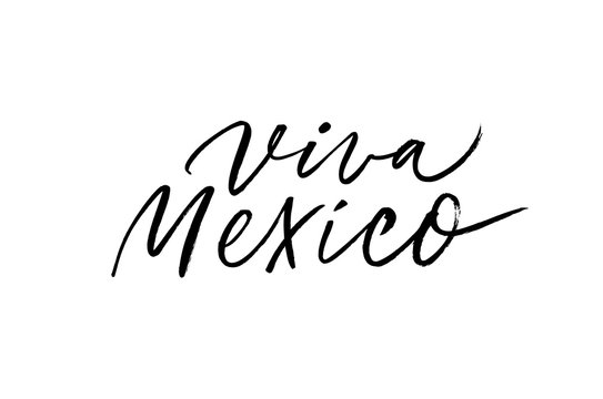 Viva Mexico traditional mexican holiday calligraphy. Vector brush lettering. Mexican independence day typography for national event, party or festive celebration. Long Live Mexico Spanish text