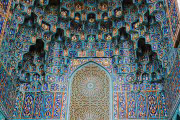 Muslim ornaments at the Blue Mosque in Saint Petersburg, Russia. Traditional Geometric islamic blue mosaic patterns. Close Up photo