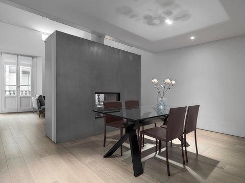modern living room interior with wooden floor