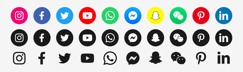 Social media icons set : Facebook, Youtube, Whatsapp, Messenger, Wechat, Instagram, Snapchat, Linkedin, Twitter, Pinterest. Isolated logo symbols on white background. PARIS, FRANCE – AUGUST 25, 2020.