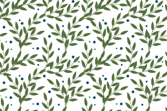 Vector floral seamless pattern in natural farmhouse style with cute simple branches, berries, leaves. Design for textiles, fabric, wallpaper, wrapping paper, homeware, home decor, web design