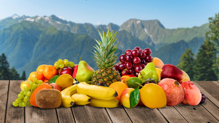 Fresh fruits. Tropical Fruits On The Table