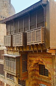 The wooden balcony of historic Hammam Inal public baths, Cairo, Egypt