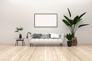 Modern interior poster mockup with horizontal black frame, light grey sofa on wooden floor,  modern side table and green plants in living room with white wall. 3d illustrations