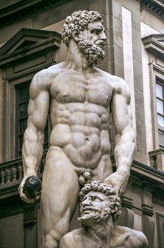 Magnificent Hercules sculpture in city center square in Florence