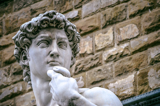 Famous Michelangleo´s David sculpture in front of Vecchio Palace