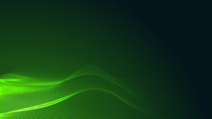 Papiers peints Abstract wave Dot green wave light screen gradient texture dark background. Abstract technology big data digital background. 3d rendering.