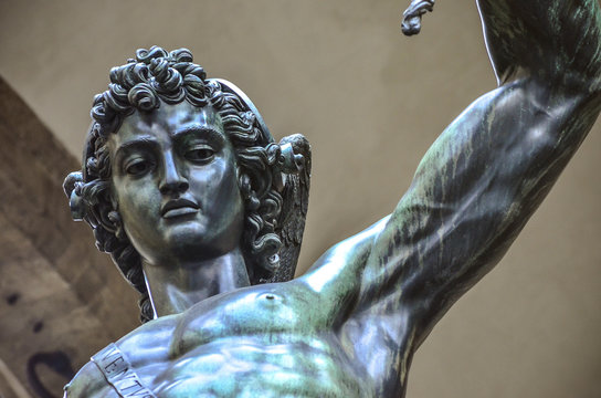 Upclose view of the famous Perseo Cellini sculpture in Florence