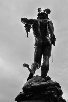 Back view of the famous Perseo Cellini sculpture in Florence