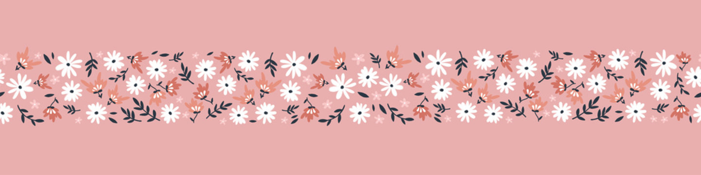 Cute hand drawn floral ditsy seamless pattern, lovely flower background, great for textiles, banners, wallpaper - vector design