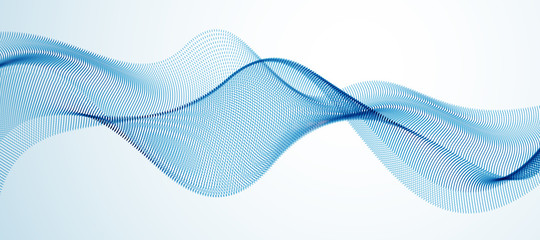 Wave of flowing particles modern relaxing illustration. Round dots vector abstract background. Beautiful wave shaped array of blended points.