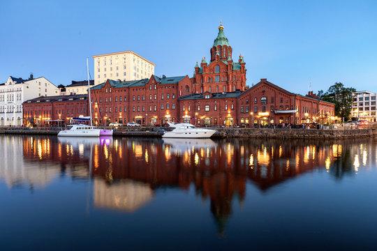 Uspenski Cathedral in Helsinki during blue hour