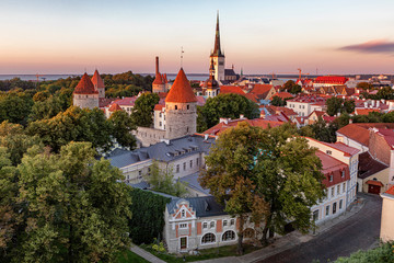 View over Tallinn from elevated viewpoint in the evening