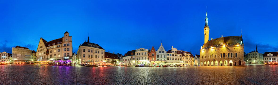 Tallinn town hall square during blue hour
