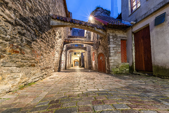St Catherine's Passage in Tallinn during blue hour