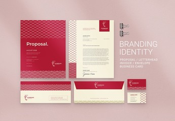 Red Branding Stationery Suite Layout with Patterns