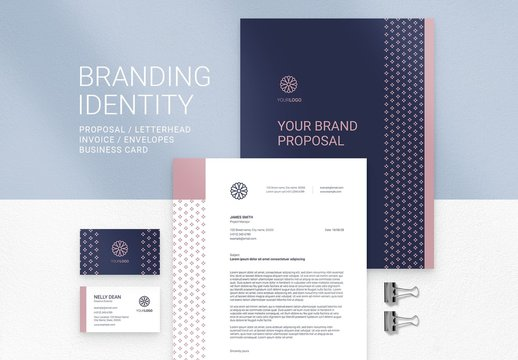 Branding Stationery Suite with Floral Logo and Minimal Style