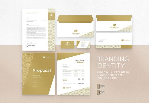 Art Deco Branding Stationery Suite Layout with Yellow Accents