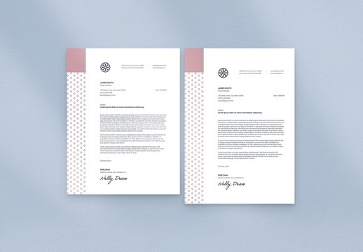 Letterhead Layout with Floral Logo and Minimal Style