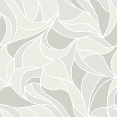 Vector leaves, seamless pattern. Floral organic background. Line drawn wallpapers